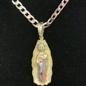 14K Tricolor Virgin Mary Charm & Cuban Link Chain